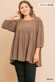 Umgee USA Brown Round Neck Plus Cotton Linen Babydoll Tunic Top - Front cropped