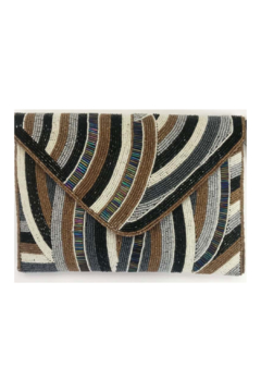 Shoptiques Product: Brown Stripe All Beaded Envelope Clutch