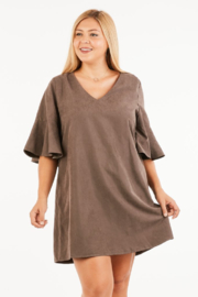 VeryJ Brown Suede A-line Dress - Front full body