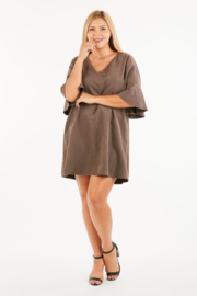 VeryJ Brown Suede A-line Dress - Product Mini Image