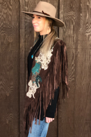 Pat Dahnke Brown Suede Collar w/ Turquoise - Front full body