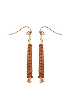 Riah Fashion Brown Wrapped Earrings - Product List Image