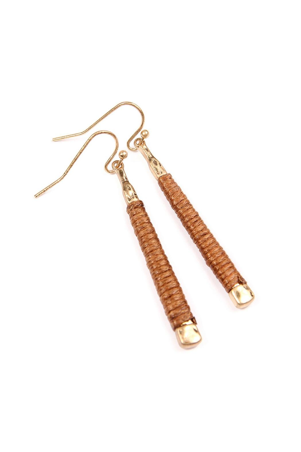 Riah Fashion Brown Wrapped Earrings - Front Full Image
