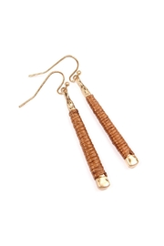 Riah Fashion Brown Wrapped Earrings - Front full body