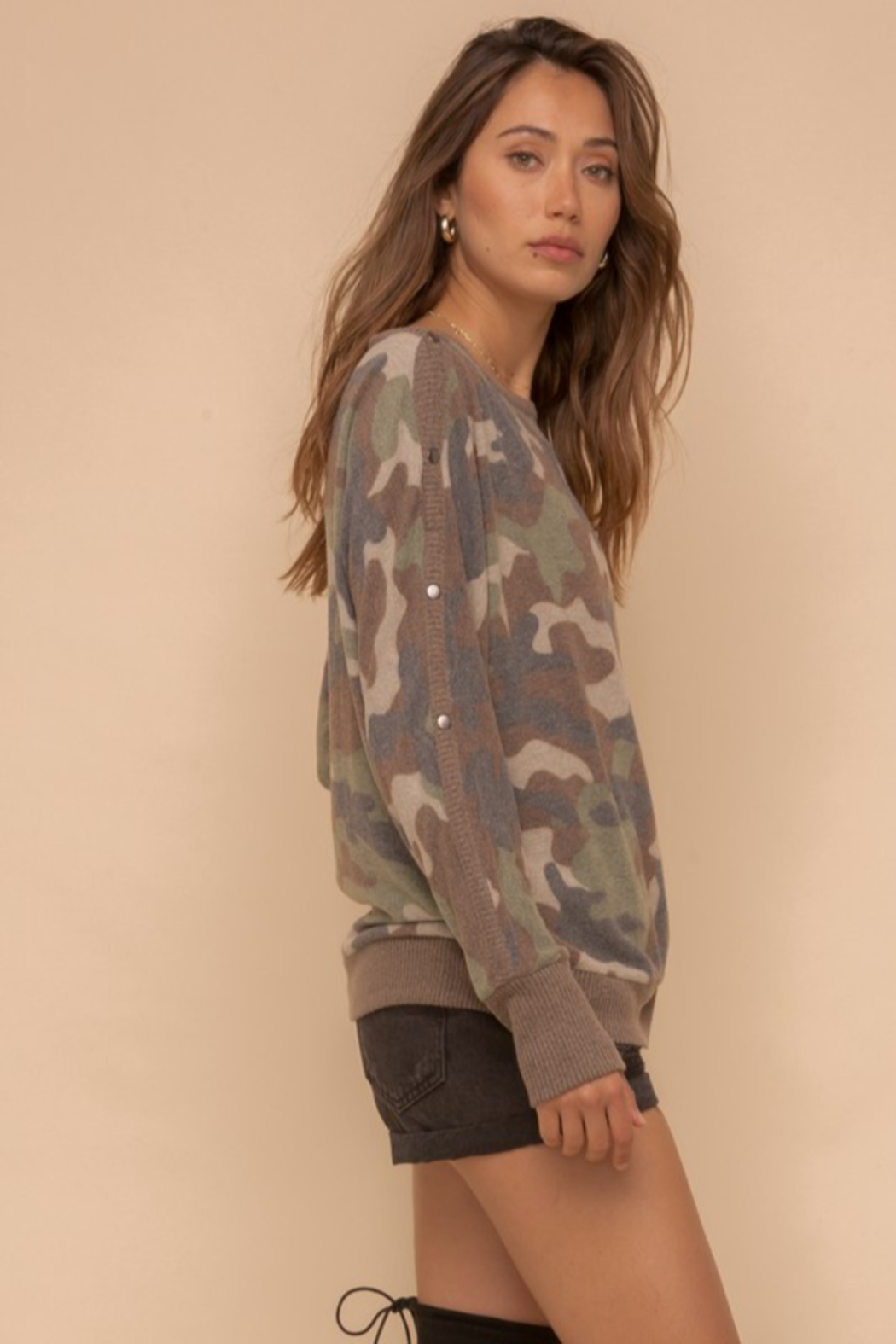 Hem & Thread Brushed Camo Boat Neck - Side Cropped Image