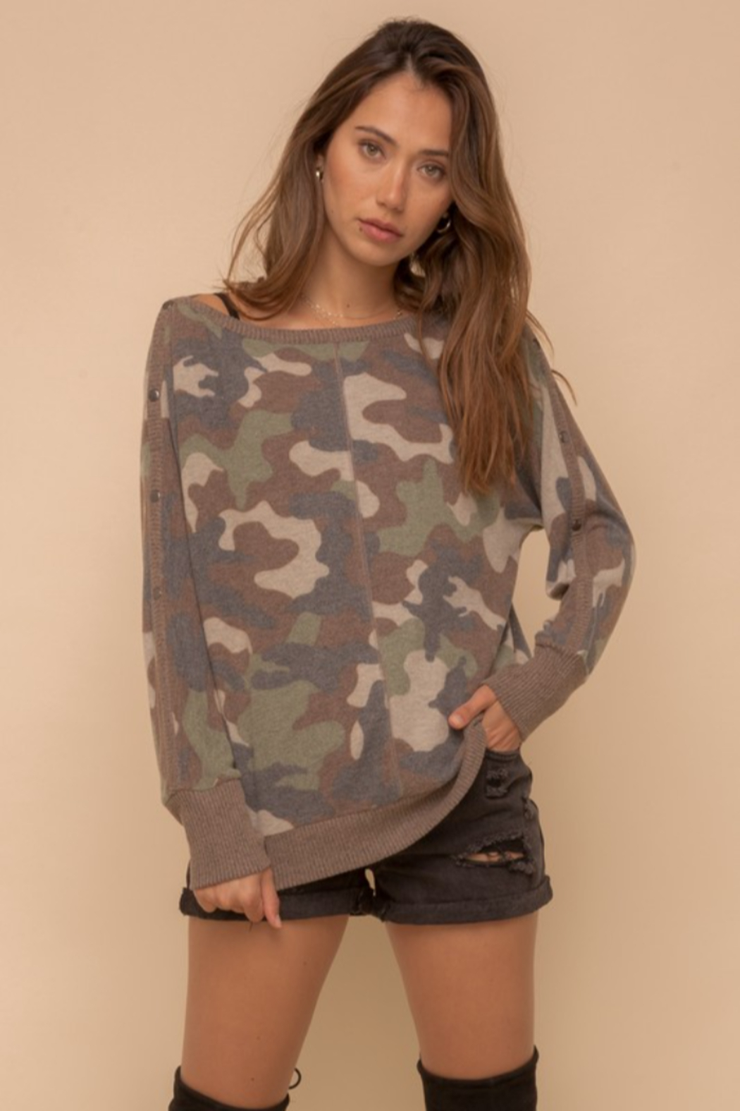 Hem & Thread Brushed Camo Boat Neck - Main Image
