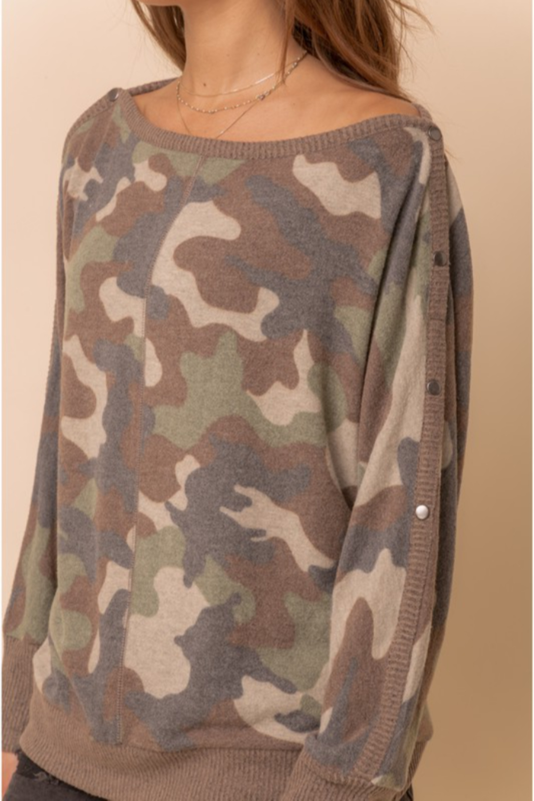 Hem & Thread Brushed Camo Boat Neck - Back Cropped Image
