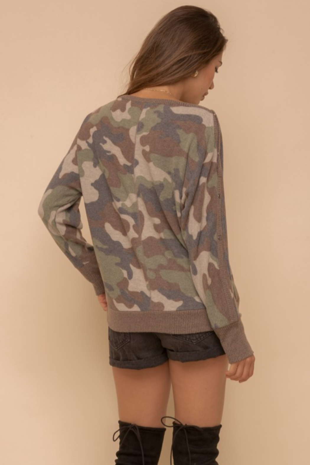 Hem & Thread Brushed Camo Boat Neck - Front Full Image