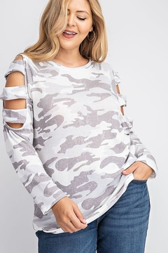 143 Story BRUSHED CAMO PRINT TOP - Product List Image