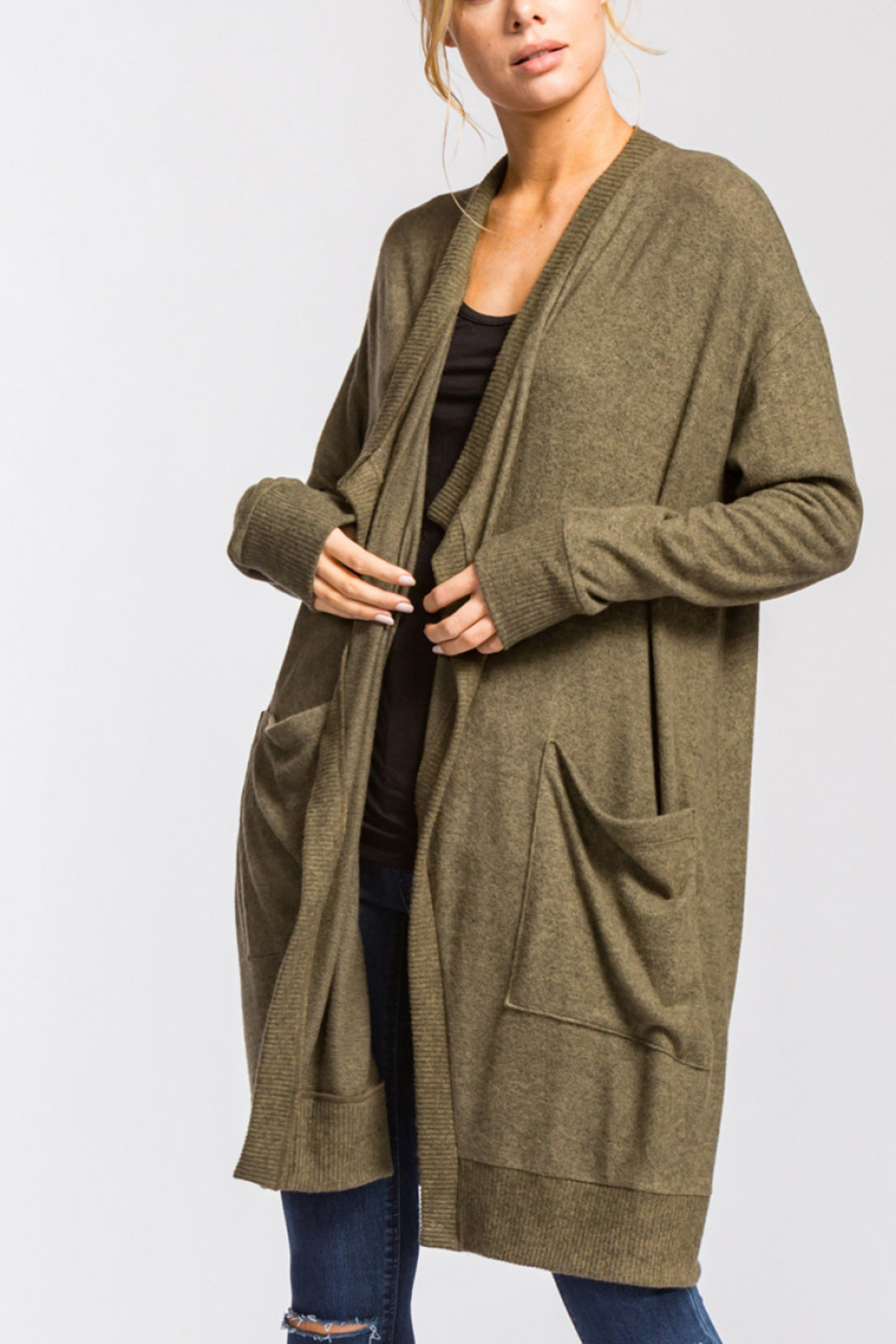Lyn -Maree's Brushed Cardigan Intermingle Cardi - Front Cropped Image