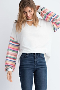 143 Story Brushed Contrast-Sleeve Choker - Product List Image