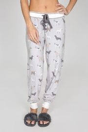 PJ Salvage Brushed Dog-Print Bottoms - Front cropped