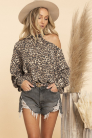 Blue Buttercup Brushed Hacci Leopard Top - Product Mini Image