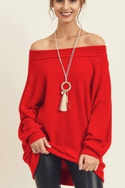 First Love Brushed Hacci Off Shoulder Top - Product Mini Image
