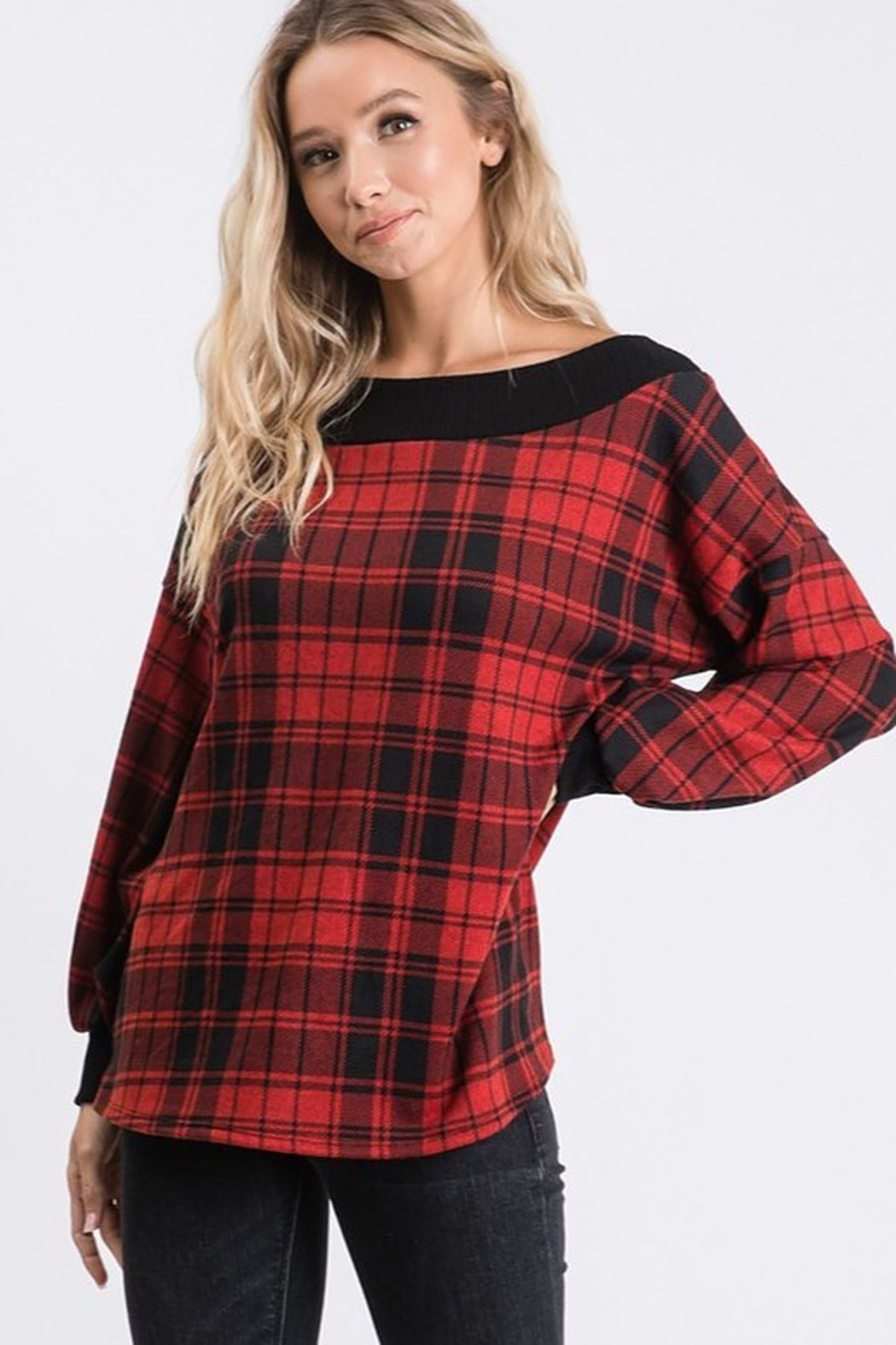 Hailey & Co Brushed hacci plaid print long sleeve top. - Front Full Image