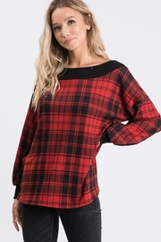 Hailey & Co Brushed hacci plaid print long sleeve top. - Front full body