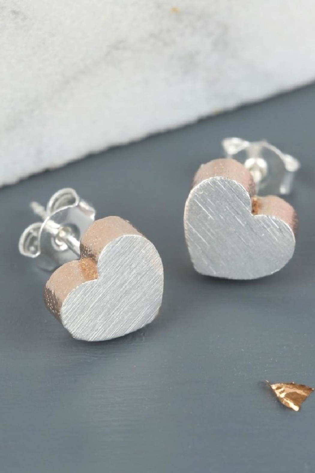 Pink Poodle Boutique Brushed Heart Earrings - Main Image