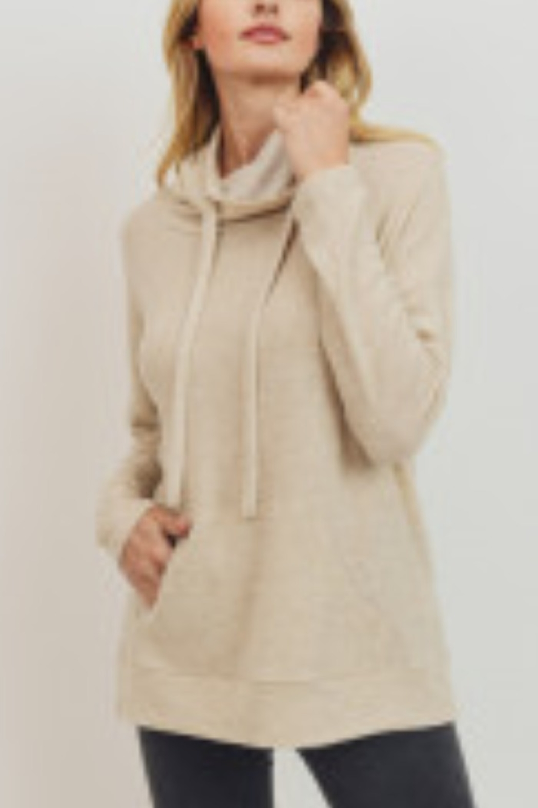 Lyn -Maree's Brushed Knit Kangaroo Pocket Turtleneck Top - Main Image
