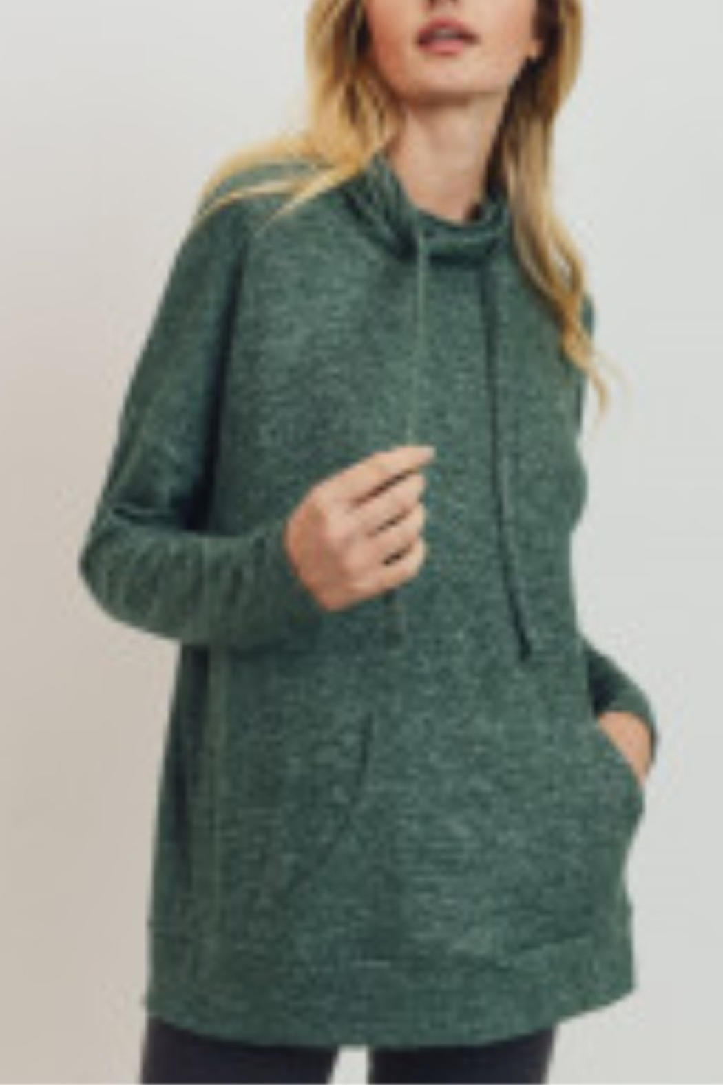 Lyn -Maree's Brushed Knit Kangaroo Pocket Turtleneck Top - Front Cropped Image