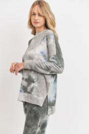 Cherish Brushed Knit Tie Dye Slit Hem Tunic - Side cropped