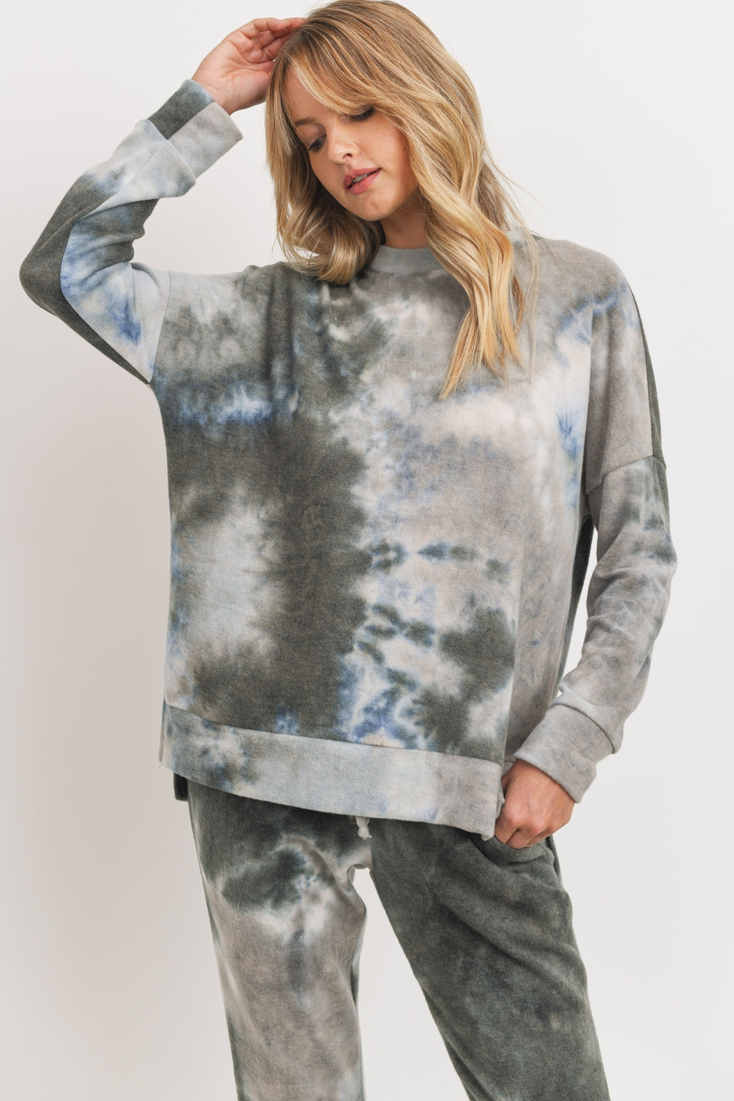 Cherish Brushed Knit Tie Dye Slit Hem Tunic - Main Image