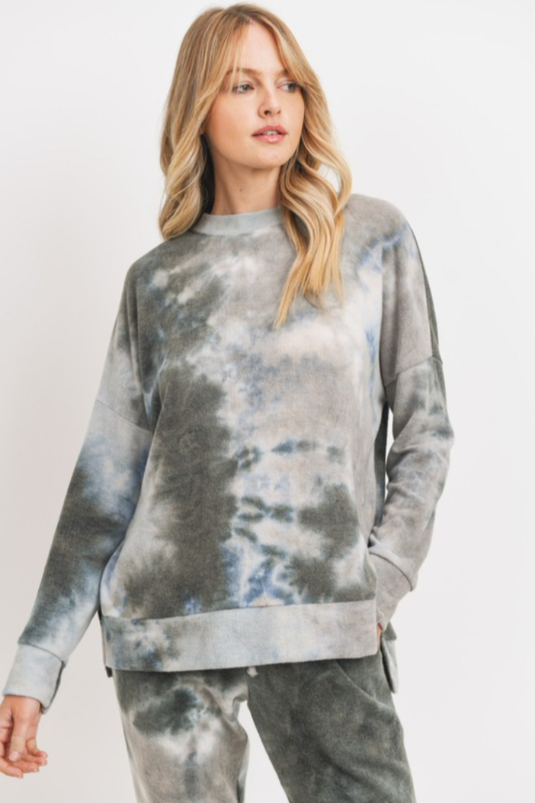 Cherish Brushed Knit Tie Dye Slit Hem Tunic - Front Full Image