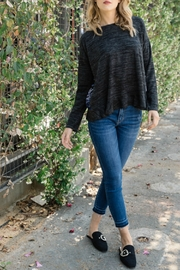 Mystree Brushed Knit w Velvet Burnout Back Top - Product Mini Image