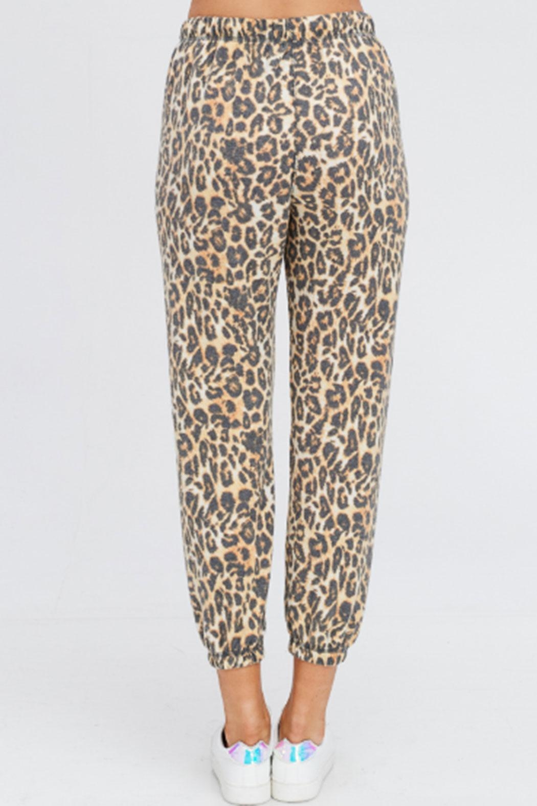Maronie  Brushed Leopard Joggers - Back Cropped Image