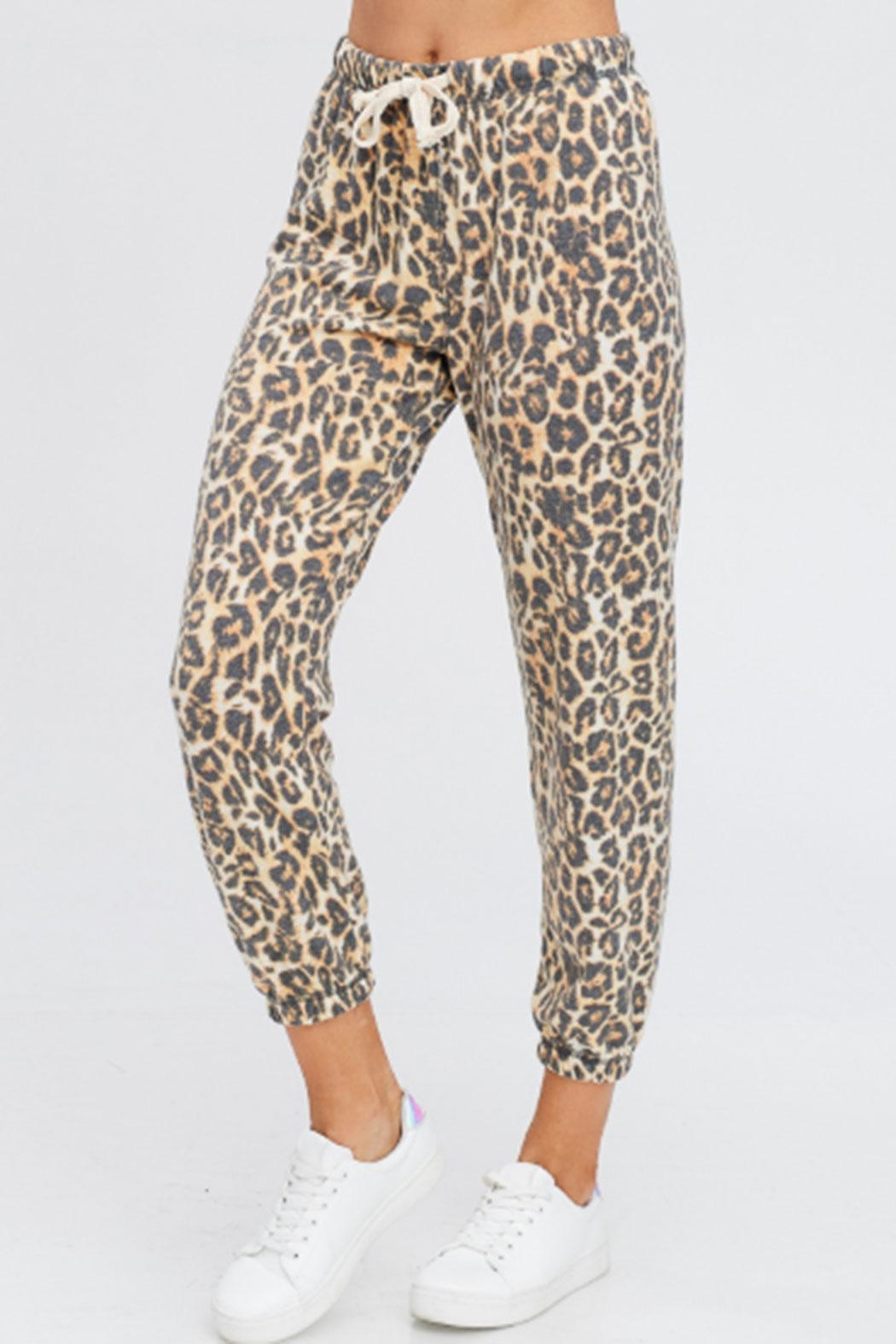 Maronie  Brushed Leopard Joggers - Front Full Image