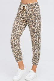Maronie  Brushed Leopard Joggers - Front full body