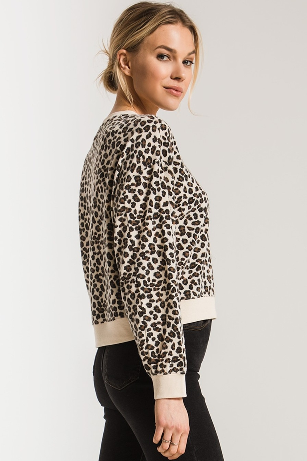 z supply Brushed Leopard Pullover - Back Cropped Image