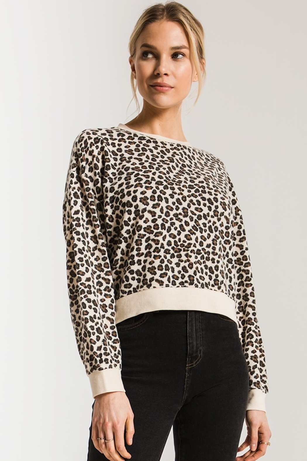 z supply Brushed Leopard Pullover - Front Full Image