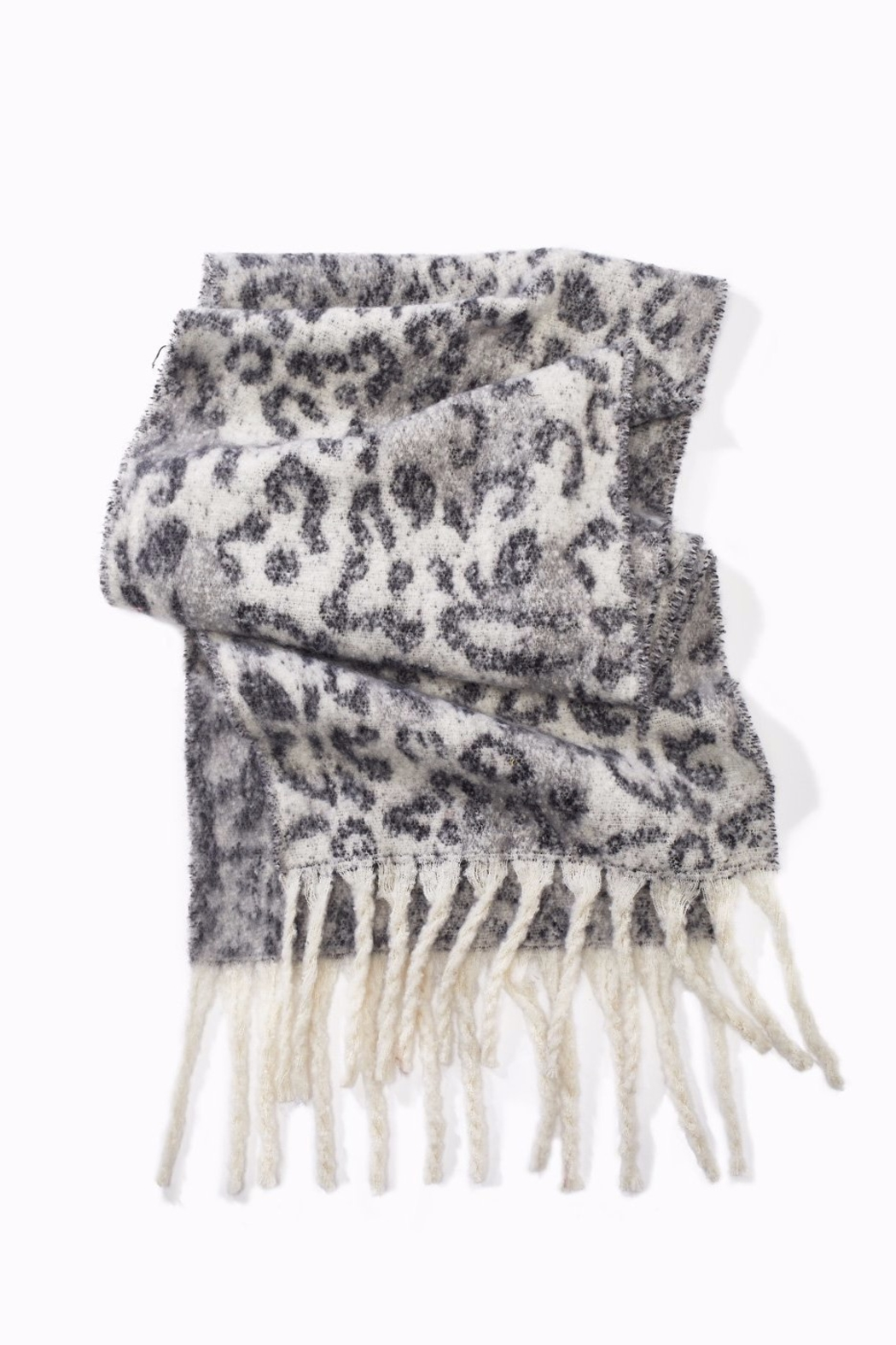 Look by M Brushed  Leopard Scarf - Front Cropped Image