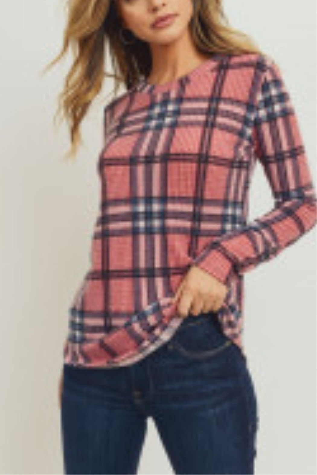 Lyn -Maree's Brushed Plaid Print Thermal Fitted Top - Main Image