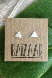 Baizaar Brushed Sterling Silver Miniature Triangle Studs - Product Mini Image