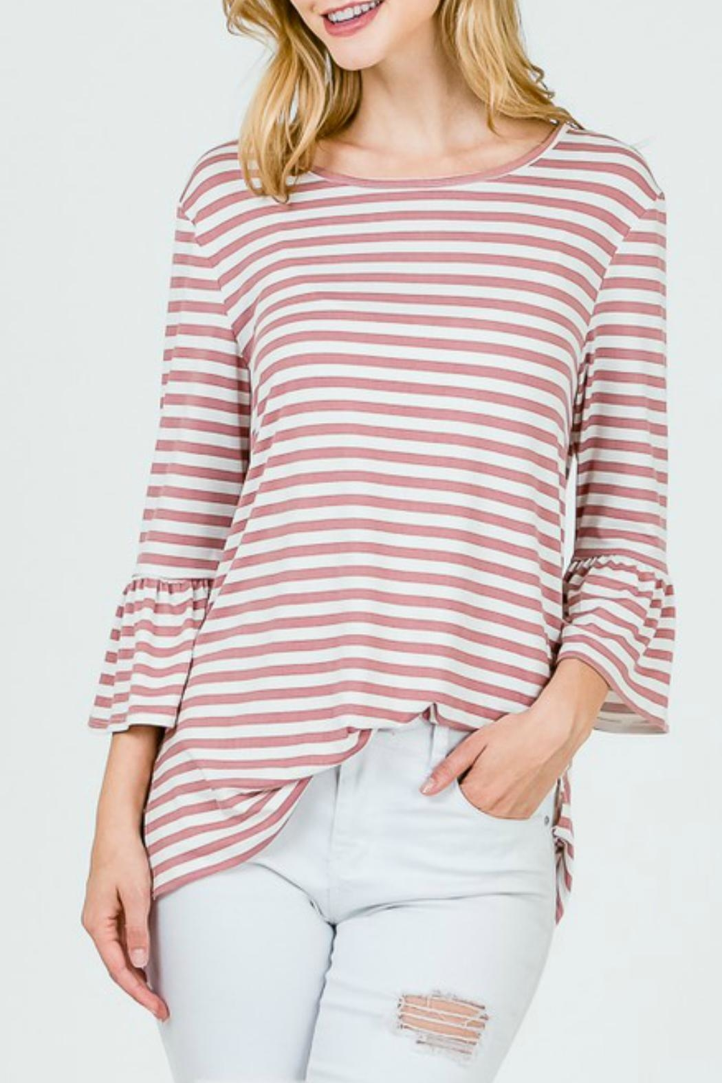Lime n Chili Brushed Striped Top - Front Cropped Image