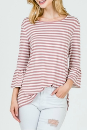 Lime n Chili Brushed Striped Top - Front cropped