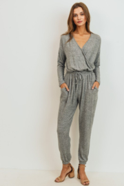 Cherish  Brushed Surplice Jumpsuit - Front cropped