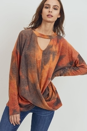 Cherish  Brushed Tie Dye Knit Mock Neck Top - Product Mini Image