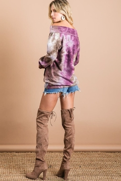 Bibi Brushed Tie Dye Top with Kangaroo Pocket - Alternate List Image