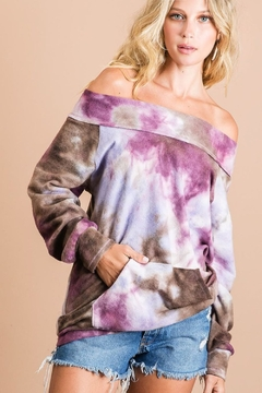 Bibi Brushed Tie Dye Top with Kangaroo Pocket - Product List Image