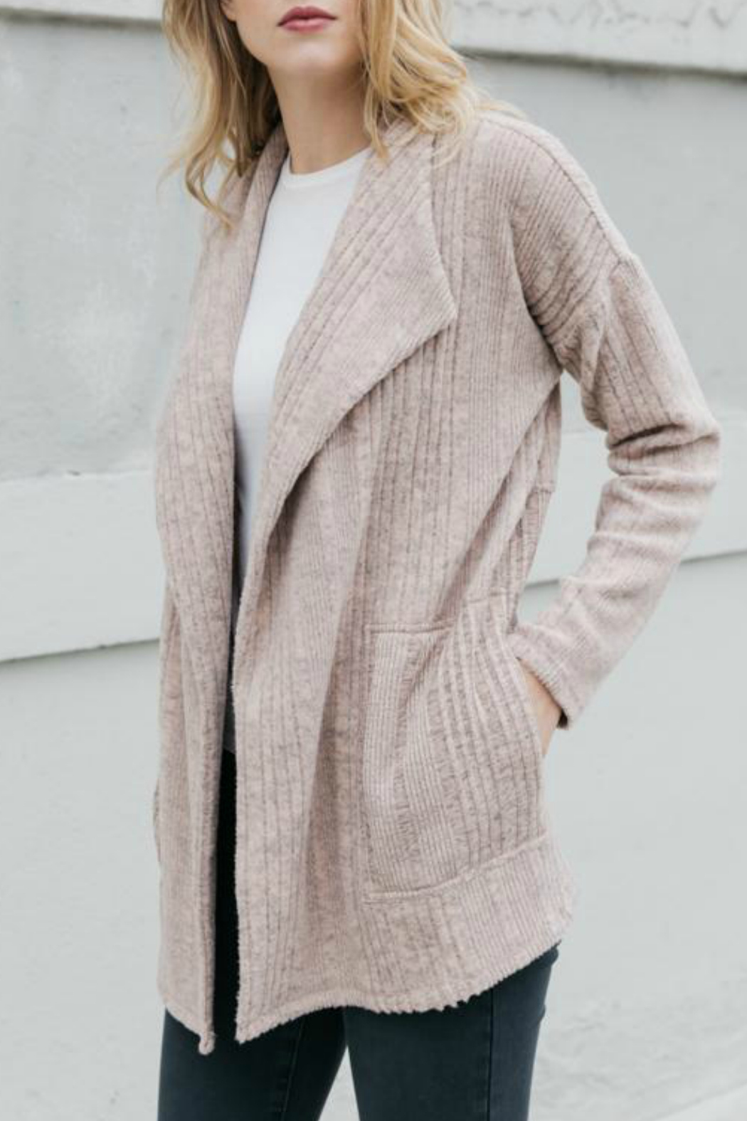 Mystree Brushed Variegated rib open cardigan - Front Cropped Image
