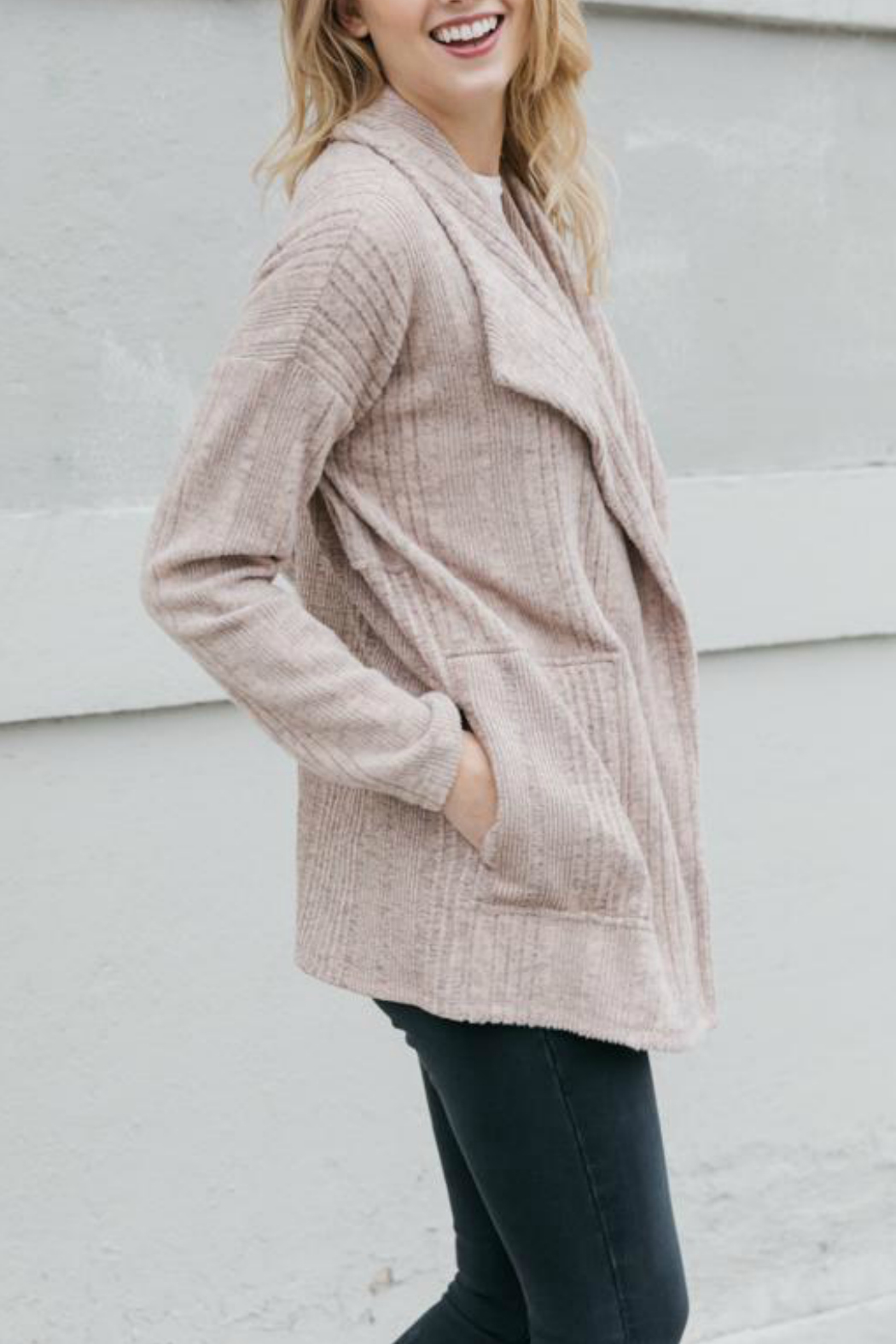 Mystree Brushed Variegated rib open cardigan - Front Full Image