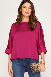 She and Sky Brylee Satin Top - Product Mini Image