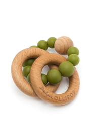 loulou Lollipop  Bubble Silicone and Wood Teether - Olive Green - Product Mini Image