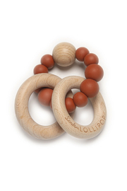 loulou Lollipop  Bubble Silicone & Wood Teether - Rust - Product Mini Image