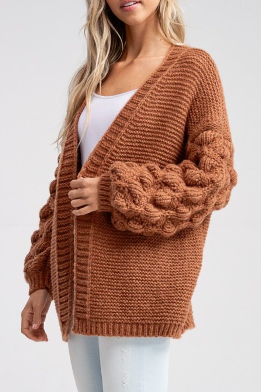 Papermoon Bubble Sleeve Cardigan - Side Cropped Image