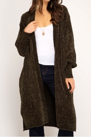 She + Sky Bubble-Sleeve Chenille Cardigan - Product Mini Image