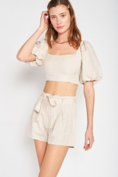 Emory Park Bubble Sleeve Crop Top - Product List Image
