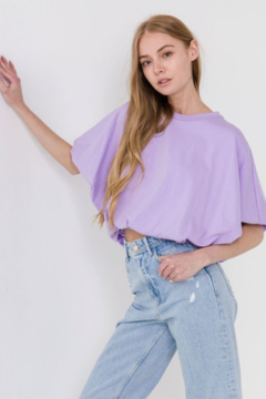 Grey Lab Bubble Sleeve Cropped Tee - Product List Image
